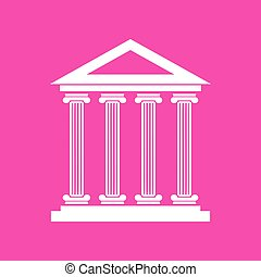 Historical building illustration. White icon at magenta background.