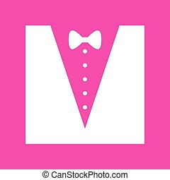 Tuxedo with bow silhouette. White icon at magenta background.