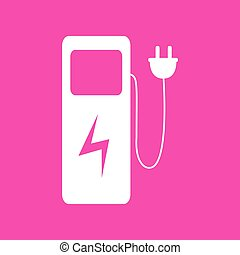 Electric car charging station sign. White icon at magenta...