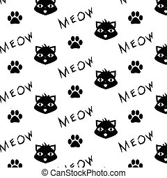 Vector pattern with cat, paw prints and meow word. Printable, monochrome background