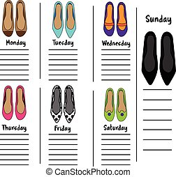 Woman weekly, daily planner template with fashionable shoes. Organizer, diary, schedule with notes for females
