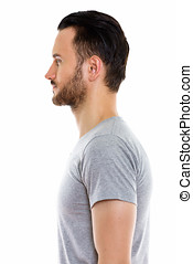 Profile view of young man