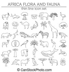 Thin line Africa flora and fauna elements. Animals, birds...