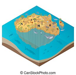 Flat 3d isometric Africa flora and fauna map constructor...