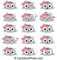 Set of cute cartoon cat emotions - Set of cute cartoon cat...