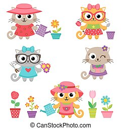 Cute little cat girls with gardening tools - Gardening...