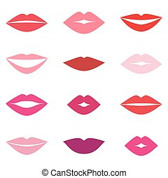 Different women's lips vector set