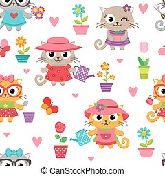 Cute little cat girls with gardening tools pattern