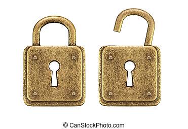 Old, vintage padlocks ( locked and unlocked )