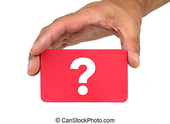 """Hand holding and showing a red card with """" QUESTION MARK """"..."""