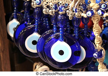 Turkish superstition evil eye beads, Nazar beads close up...