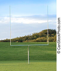 American Football Goal Posts on blue sky