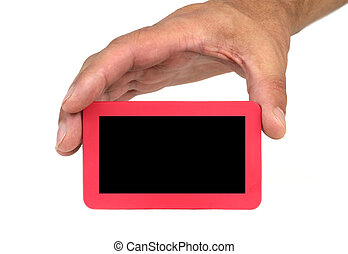 Hand holding and showing a card with text space on white...