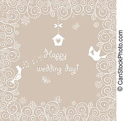 Beautiful wedding lacy card with lovely birds