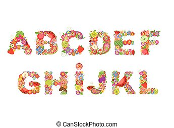 Childish funny vector flowers font with fruits. Summery...