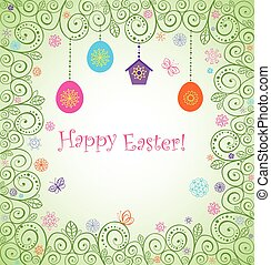 Easter decorative card with hanging egg