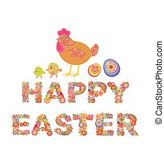 Happy Easter. Easter floral print