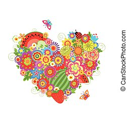 Summery floral heart shape with fruits