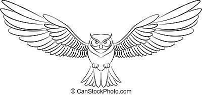 owl - flying owl