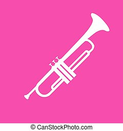Musical instrument Trumpet sign. White icon at magenta...