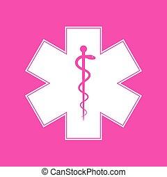 Medical symbol of the Emergency or Star of Life. White icon at magenta background.