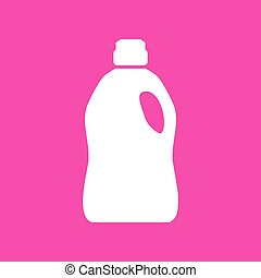 Plastic bottle for cleaning. White icon at magenta...