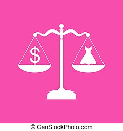 Dress and dollar symbol on scales. White icon at magenta background.