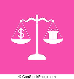 Gift and dollar symbol on scales. White icon at magenta background.