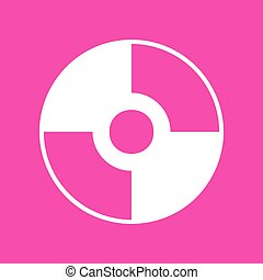 Vector CD or DVD sign. White icon at magenta background.