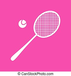 Tennis racquet sign. White icon at magenta background.