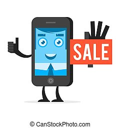 Character phone advertises sale - Illustration character...