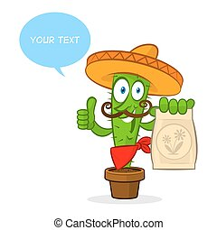 Cactus holds fertilizer package - Illustration cactus holds...