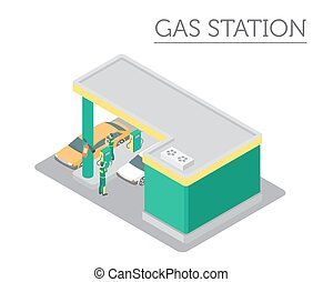 Flat 3d isometric Gas station and city map constructor elements such as building, filling equipment, refuelers, transport isolated on white. Build your own infographic collection