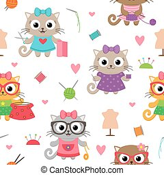 Cute cat girls with sewing accessories pattern