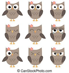 Set of cute cartoon owls emotions - Set of cute cartoon owls...