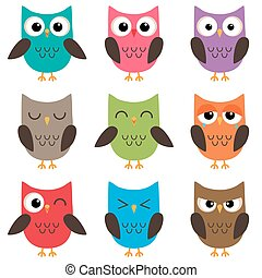 Set of cute cartoon owls emotions - Set of cute cartoon...