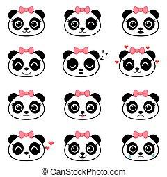 Set of cute cartoon panda emotions
