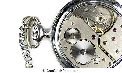 Pocket watch and within our mechanics close up image on...