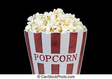 Delicious and yummy popcorn on black background