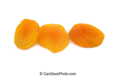 Sun dried apricots on white background
