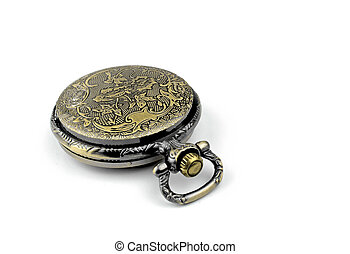 Old antique pocket watch on white background