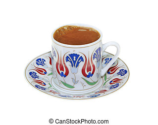 Turkish coffee with traditional ottomans motif cup, isolated...