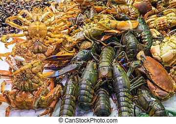 Shellfish at a market in Barcelona - Shellfish at the famous...