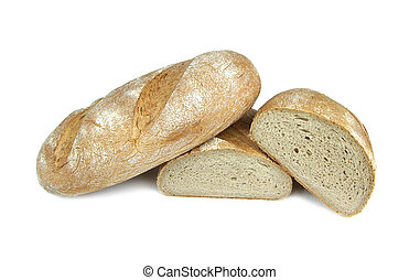 Organic peasant bread isolated on white background