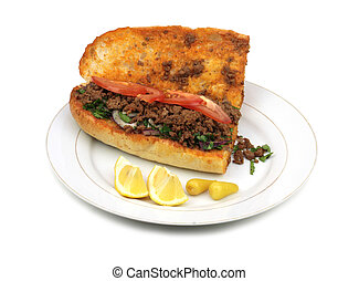 Traditional Turkish cuisine, Tantuni with loaf bread....
