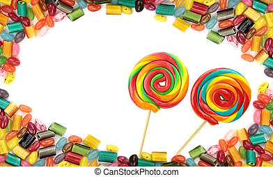 Yummy colorful candies on white background