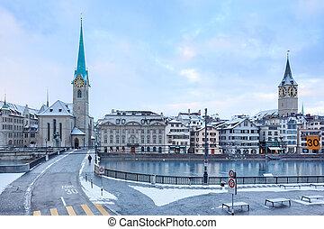 Old Zurich town, view on river - Winter landscape of Zurich...