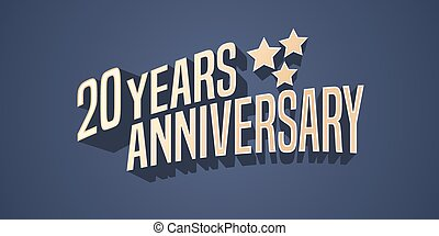 20 years anniversary vector icon, logo. Gold color graphic...