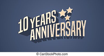 10 years anniversary vector icon, logo. Gold color graphic...