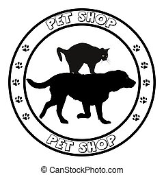 Pet shop icon round frame with dog and cat silhouettes